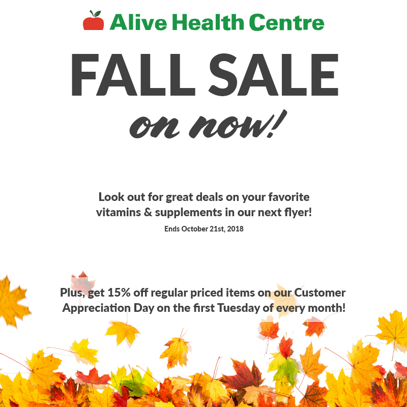 Alive Health Centre promotion/discount for supplements and vitamins at Central City in Surrey, BC.