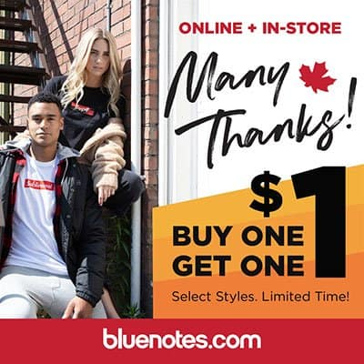Bluenotes Buy One Get One for $1 at Central City in Surrey, BC.