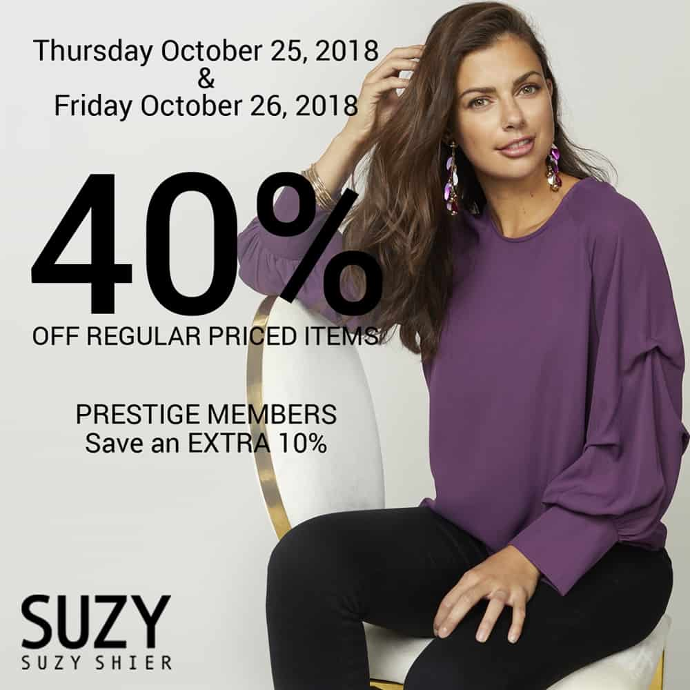 Suzy Shier 40 off regular price items at City Central in Surrey, BC