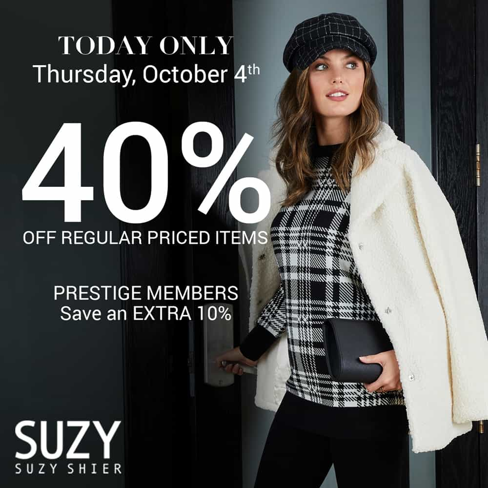 Suzy Shier 40% Off Regular Priced Items at Central City in Surrey, BC.