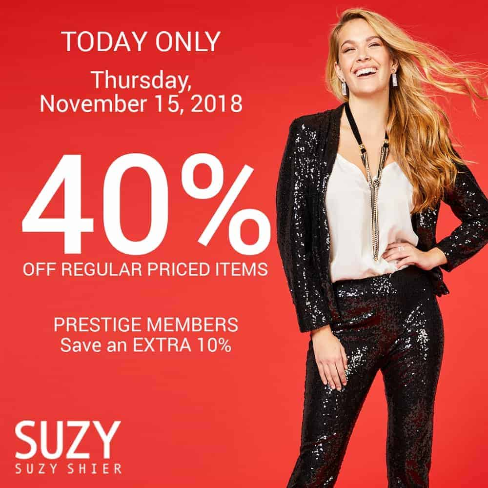 40% Off Suzy Shier at Central City in Surrey, BC